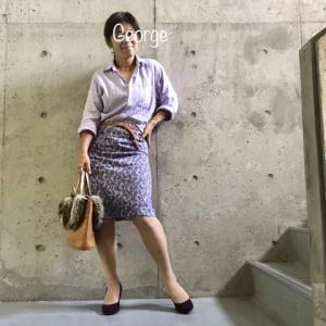 20191015 ユニクロのリネンシャツ、PEARLY GATESのスカートに合わせたパープルワントーンコーデ