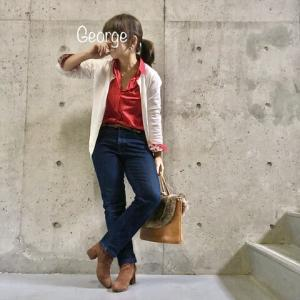 20191216 ユニクロ・イネスのコラボシャツ、鮮やかな赤コーデ