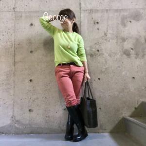 20200119 ユニクロの鮮やかグリーンセーター、ピンクのパンツを合わせてブーツインコーデ