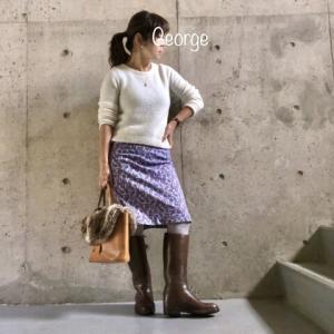 20200127 白ニットにパープルのタイトスカート、乗馬ブーツに合わせたキレイめオフィスコーデ