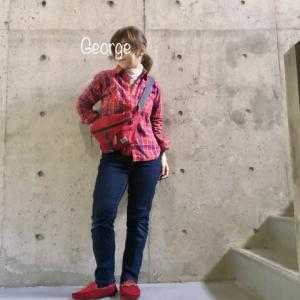20200329 ユニクロのネルシャツとジーンズ、赤いモカシンで函館、入船地区を歩く