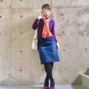 20200418 初めてのマタニティスカート、ベトナム土産のスカーフに合わせたカラフル休日コーデ