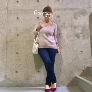 20200523 ユニクロのピンクニットにジーンズ、普通の服をマタニティ仕様で着てみる