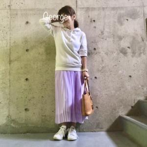 20200601 ラベンダー色のマタニティロングスカート、初夏コーデ