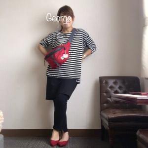 20200713 CHOCOAのマタニティレギンスをミニスカートに合わせてみた。黒と赤のコントラストきかせた妊婦コーデ