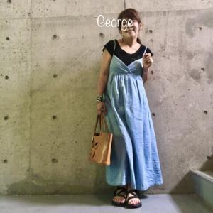 20200808 デニムのキャミワンピに黒キャスケットとスポサン、すっきり夏の妊婦コーデ