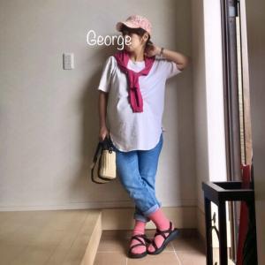 20200919 Sweet Mommyのマタニティジーンズと授乳Tシャツ、ピンク小物をきかせたコーデ