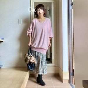 20210127 Angeliebeのマタニティスカート活用、ピンクとモノトーンのコーデ