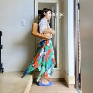 20210710 Osharewalkerの花柄スカート、夏らしい涼し気ふわふわコーデ