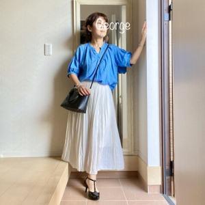 20210923 ブルーのブラウスにユニクロのプリーツスカート、名残惜しい夏の日リンクコーデ