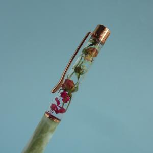ミニバラのハーバリウムボールペンは大理石柄で優雅に(#^^#)