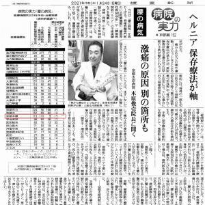 実績の京都木原病院! 頚椎だけでなく腰部椎間板ヘルニア治療でも有名。 日曜の読売新聞に掲載中。
