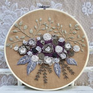 """""""The flower garden embroidery with dark natural colors """"。額装が終わりました。"""