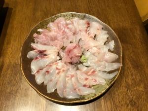 鯛の刺身、しゃぶしゃぶ、白子ポン酢