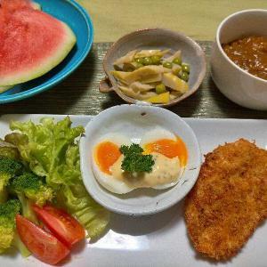 ■ごちそう半熟卵■ささみチキンカツ &熊本スイカ