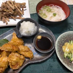 ■鶏ささみおろしとり天■生姜酢味噌和え■ごぼうから揚げ &伊勢海老