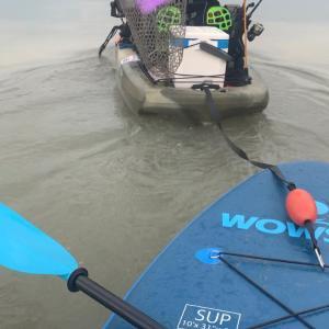 内陸河川 カヤックでSUP 牽引訓練