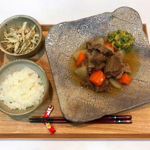 【献立・汁なし二菜】白米+牛すじ煮込み+ごぼうサラダ