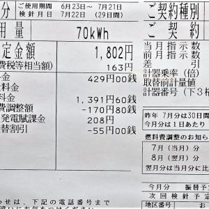 7月の電気代は1,802円でした
