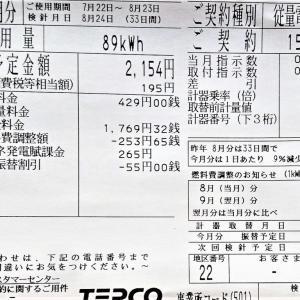 8月の電気代は2,154円でした
