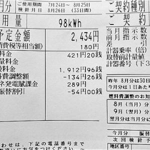 8月の電気代は2,434円でした