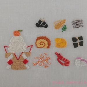 季節のはがき刺繍~1月