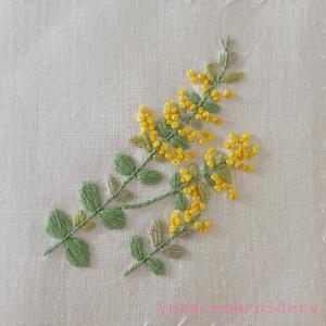 季節のお花刺繍~ミモザ
