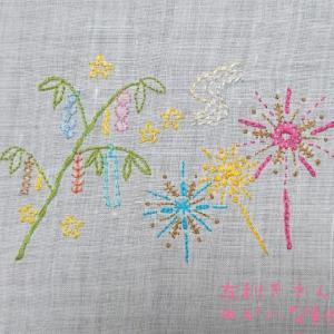 季節のはがき刺繍~7月