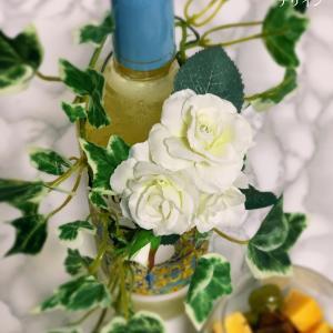 バラのボトルマーカー、グラスを使ったテーブルで・なんでもない日ばんざ〜い!
