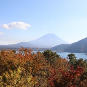 富士山を見ながらの富士五湖巡りの旅  身延町の本栖湖畔からの富士山と紅葉