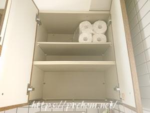 キッチン吊戸棚の右側を整える。頭が疲れた~