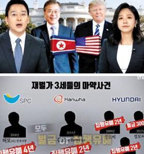 【韓国】聯合テレビで放送事故  文在寅大統領の写真の下に北朝鮮の国旗