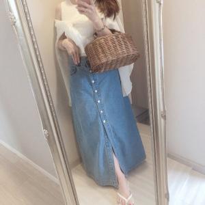 先日のコーデ♡長く履けるデニムロングスカート