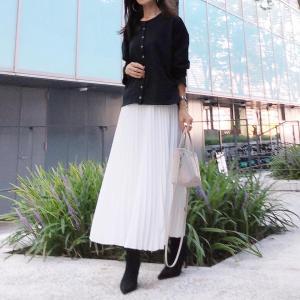 先日のコーデ♡年中履いてるプリーツスカート