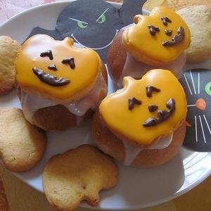 懐かし受賞レシピ♡ハロウィンモチーフ!ハロウィン!かぼちゃクッキーの黒蜜パン♪