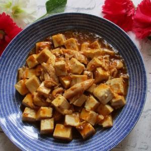フライパン5分で!レトルトで!ほぐしサラダチキン麻婆豆腐♪