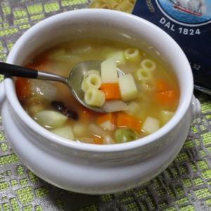 ミックスビーンズと野菜のあったか♡食べるパスタ入りスープ♪