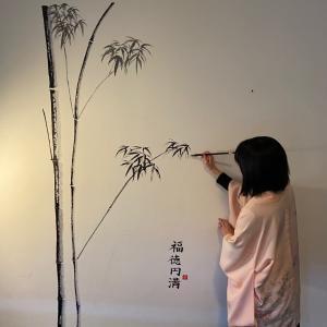 オランダで、壁に〝墨絵〟を描かせていただきました♪