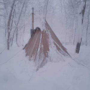 今年初の雪中キャンプ2(朝起きたら…)