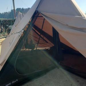 庭キャンプ(サーカスTC フロントフラップ部に薪ストーブ設置でのお試し)2