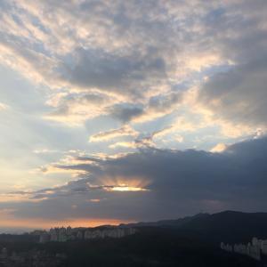 秋の朝日in韓国ソウル
