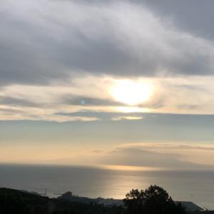 太陽と空と海、夕焼け