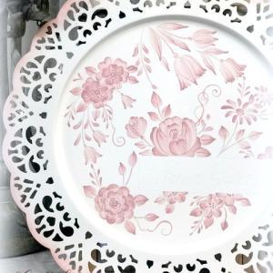 優しいピンクのトワルドジュ風トレーをトールペイントで