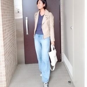 イロチ買いGUリブニット×ライダースジャケットで大人カジュアルコーデ☆嬉しいテイクアウト☆
