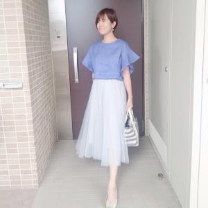 上品ブルーのリネンブレンドトップスで爽やか夏コーデ☆