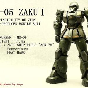 """模型 完成(2021年-5 BANDAI 1/144 HG """" MS-05 ZAKUⅠ 【ジャブロー攻撃部隊 3番機】"""")"""