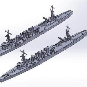 1/2000 軽巡洋艦球磨・多摩UVレジン版原型製作記
