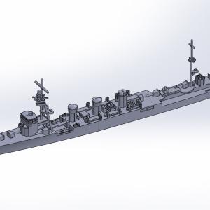 1/2000 軽巡洋艦木曾UVレジン版原型製作記