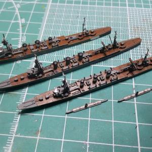 1/2000 球磨型軽巡洋艦UVレジン版3隻、サンプル組み立て