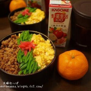 1月18日 三色丼と豚汁弁当